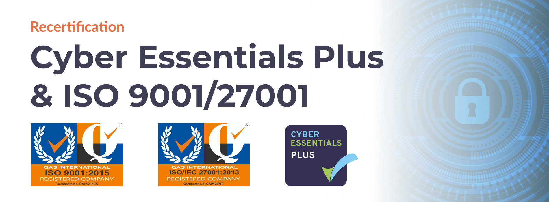 Cyber Essentials Plus & ISO 9001/27001 certification title